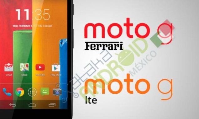 Moto G LTE and Moto G Ferrari tipped in leaked image