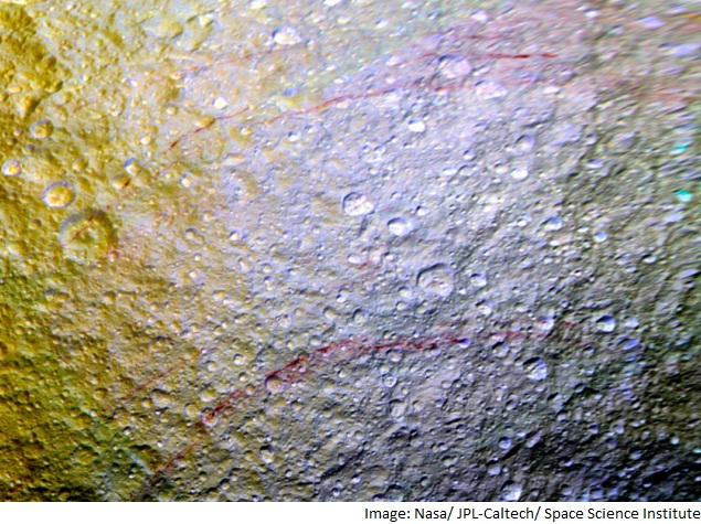 Nasa's Cassini Spacecraft Spots Unusual Red Arcs on Saturn Moon Tethys