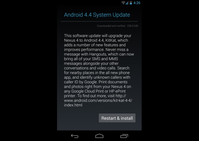 Nexus 4 reportedly starts receiving Android 4.4 KitKat update in India
