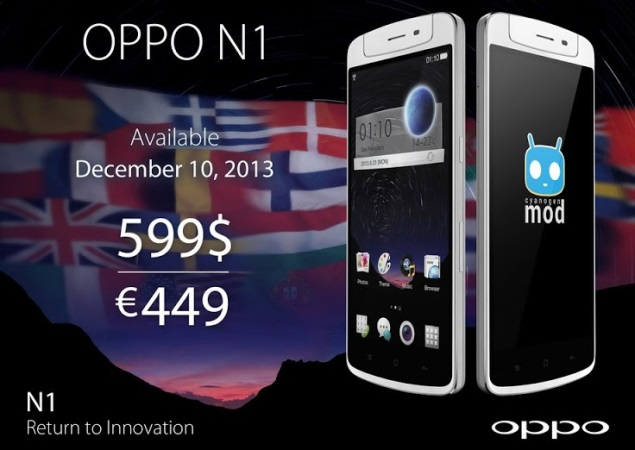 Oppo N1 smartphone with rotating camera hits Europe, US markets on December 10