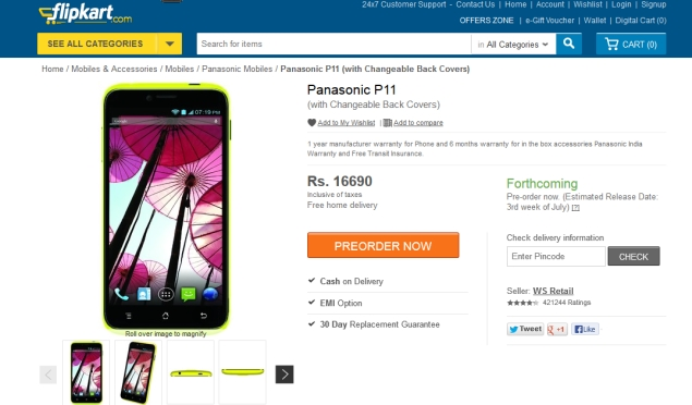 Panasonic P11 with 5.0-inch HD display up for India pre-orders, T11 listed as well