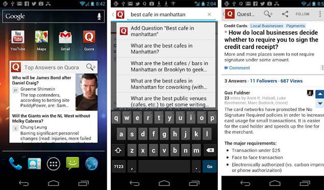 Quora for Android launches with integrated voice search, widget support