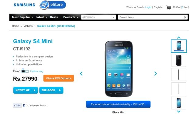 Samsung Galaxy S4 Mini now available for pre-orders at Rs