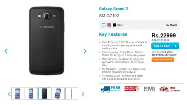 Samsung Galaxy Grand 2 now available in Black colour variant in India