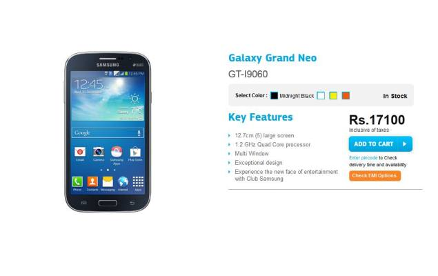 Samsung Galaxy Grand Neo price dropped to Rs  17,100