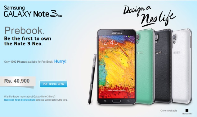 Samsung Galaxy Note 3 Neo with S Pen now up for pre-order in India