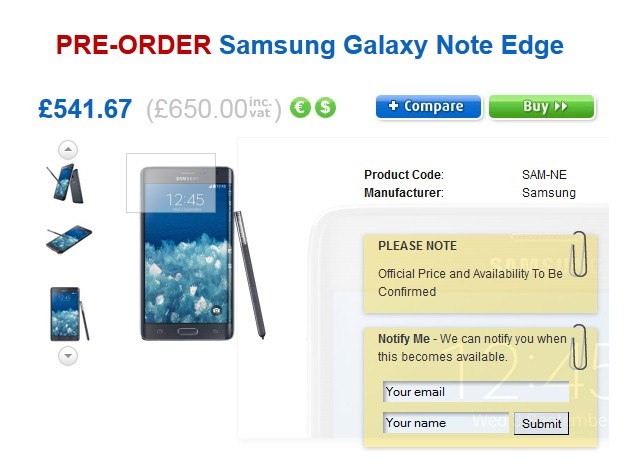 Samsung Galaxy Note Edge Price Revealed