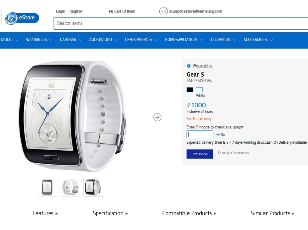 Samsung Gear S Tizen-Based Smartwatch Goes Up for Pre-Orders in India