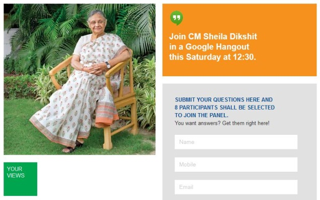 Delhi chief minister Sheila Dikshit to 'Hangout' with citizens on Google +