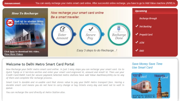 Delhi Metro commuters can now recharge smart cards online