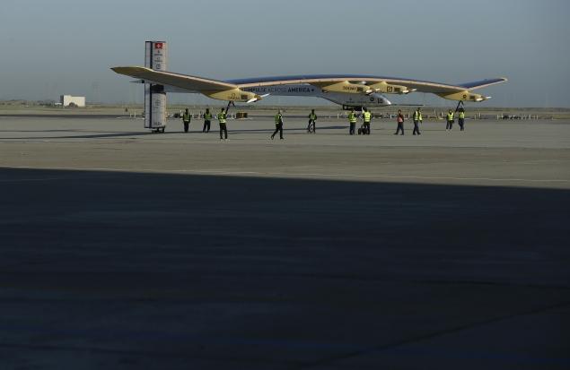 Solar-powered plane ends US tour in Washington