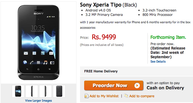 Sony Xperia tipo goes up for pre-orders at Rs. 9,499