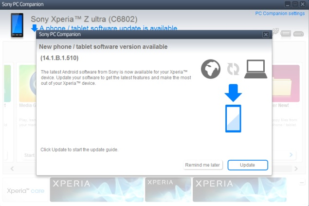 pc companion not updating xperia s