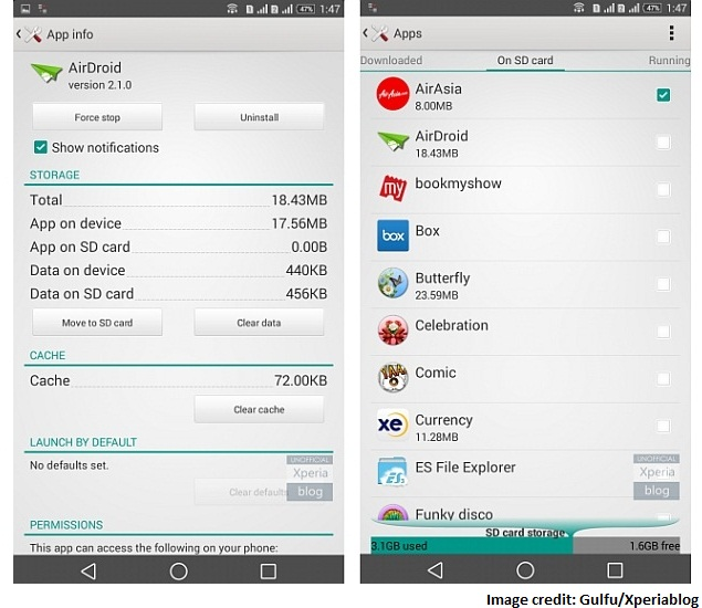 Sony Xperia Android 4 4 KitKat Update Brings 'Move App to SD