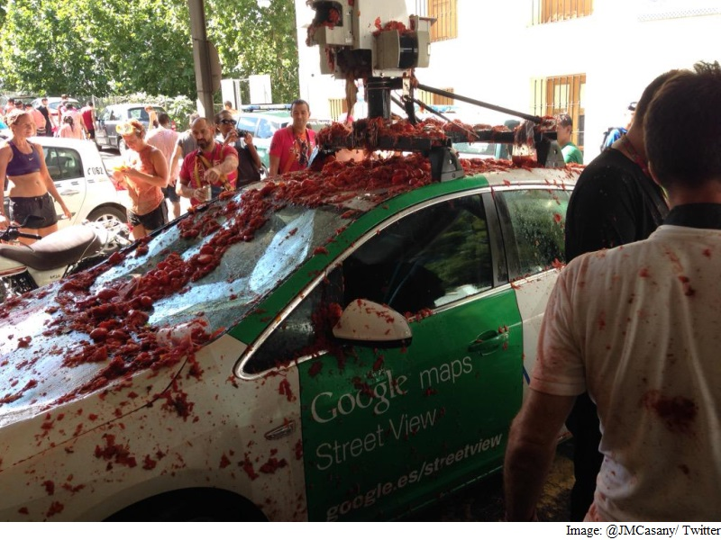 Google Street View Car Targeted by Tomato Throwers in Spain