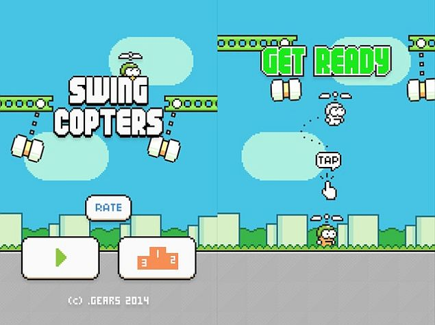 Swing Copters - Flappy Bird Creator's New Game - Is Even Harder
