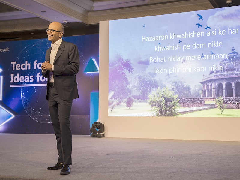 Microsoft CEO Talks About Technology's Transformative Power at Delhi Event