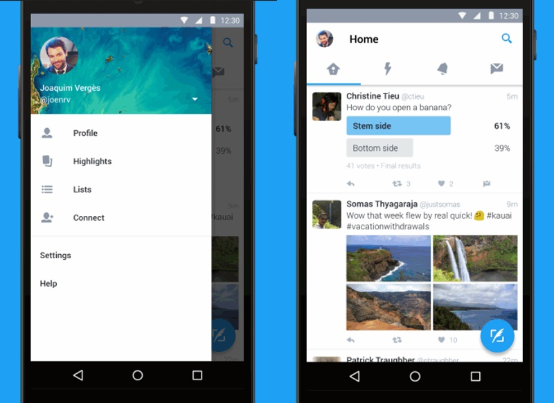 twitter revamps android app to follow material design On home design app android