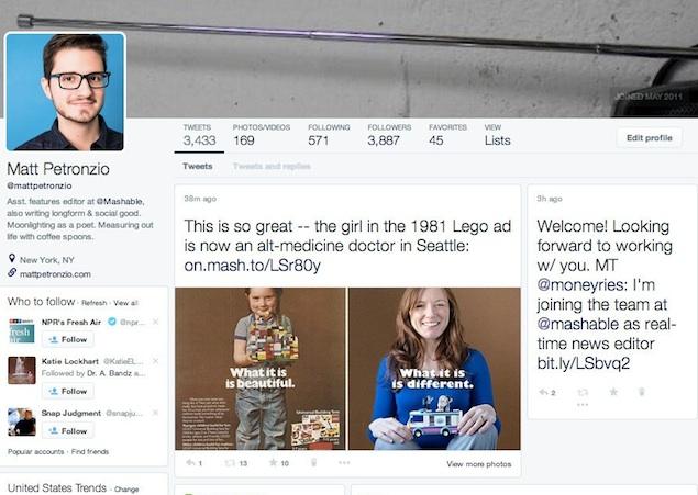 Twitter testing revamped profile design similar to Facebook, Google+