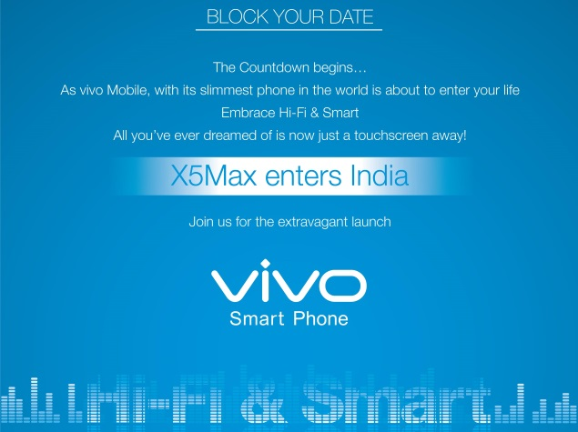 Vivo X5Max 'Slimmest' Smartphone Set to Launch in India on December 15