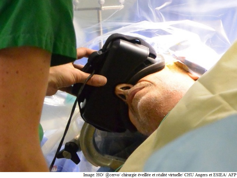 Patient Wears VR Headset During Brain Surgery
