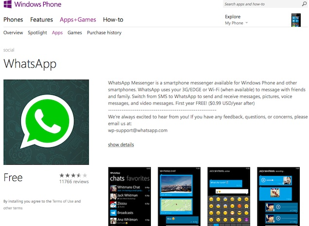 WhatsApp Back on Windows Phone Store Nearly Two Weeks After Removal