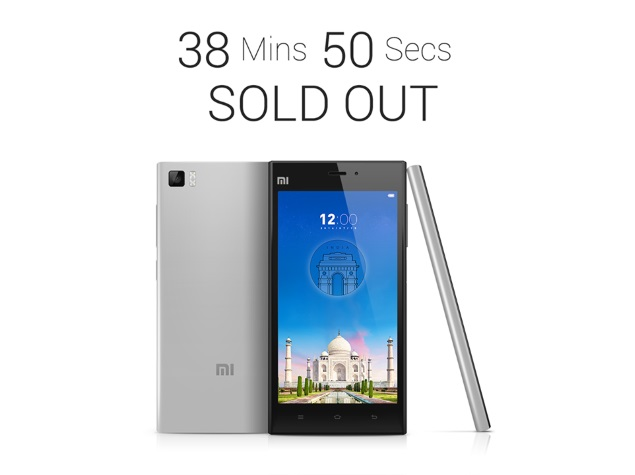 Xiaomi Mi 3 Sold Out Within 40 Minutes in India, Claims Company