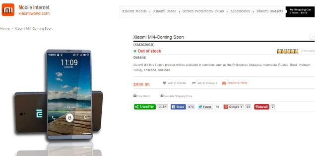 Xiaomi Mi 4 With Snapdragon 805 Listed Online Ahead of July 22 Launch