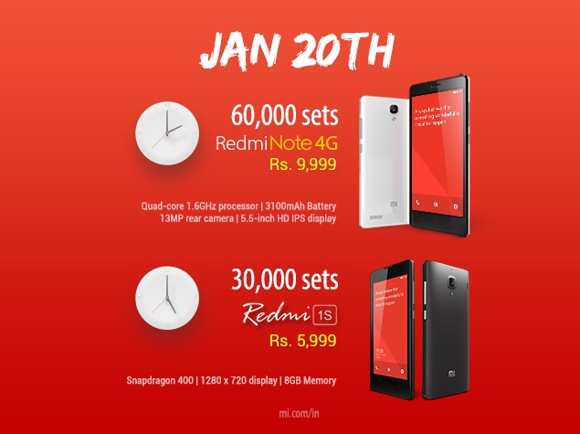 Xiaomi Redmi 1S, Redmi Note 4G Set to Go on Sale Again on Tuesday