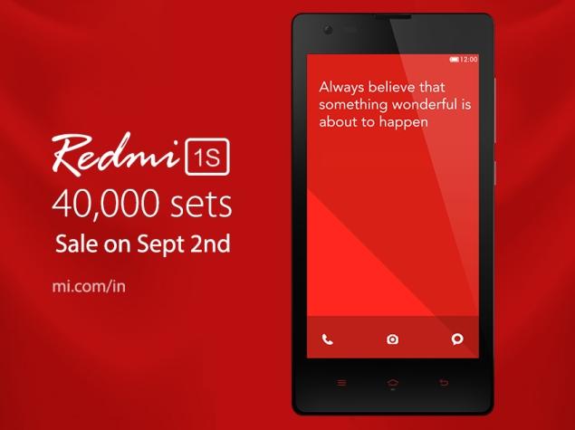 40,000 Xiaomi Redmi 1S Phones to Go on Sale via Flipkart on September 2