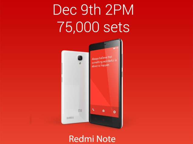 75,000 Xiaomi Redmi Note Phones to Go on Sale on Tuesday via Flipkart