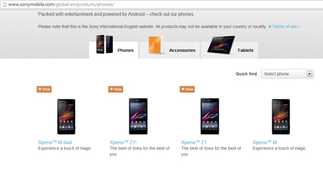 Xperia Z1s, the mini-variant of Xperia Z1, gets briefly listed on Sony's site