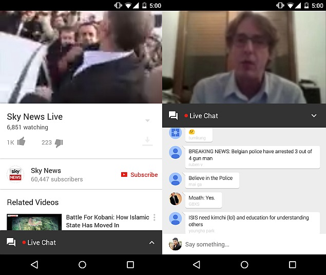 YouTube For Android Gets Live Chat Feature, Autoplay