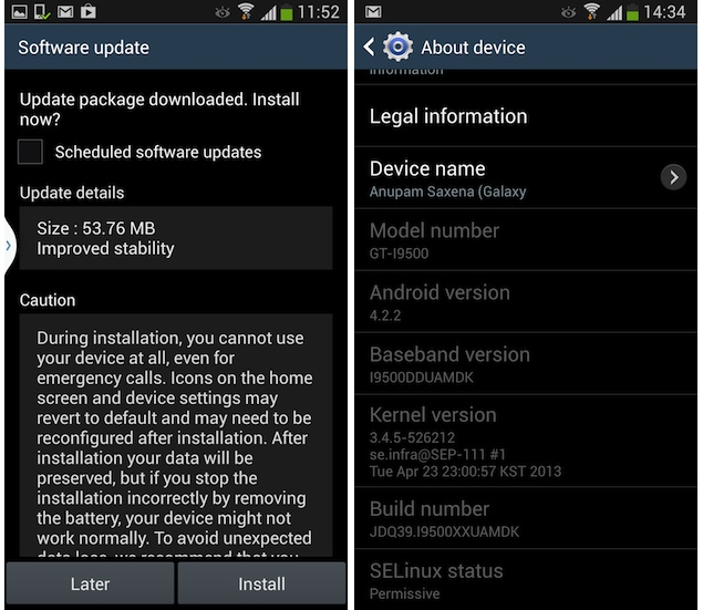 Samsung Galaxy S4 receives first software update ...