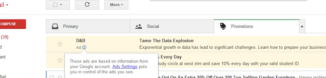 Google now placing ads disguised as emails under Gmail's Promotions tab
