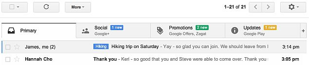 Gmail gets a new tabbed interface