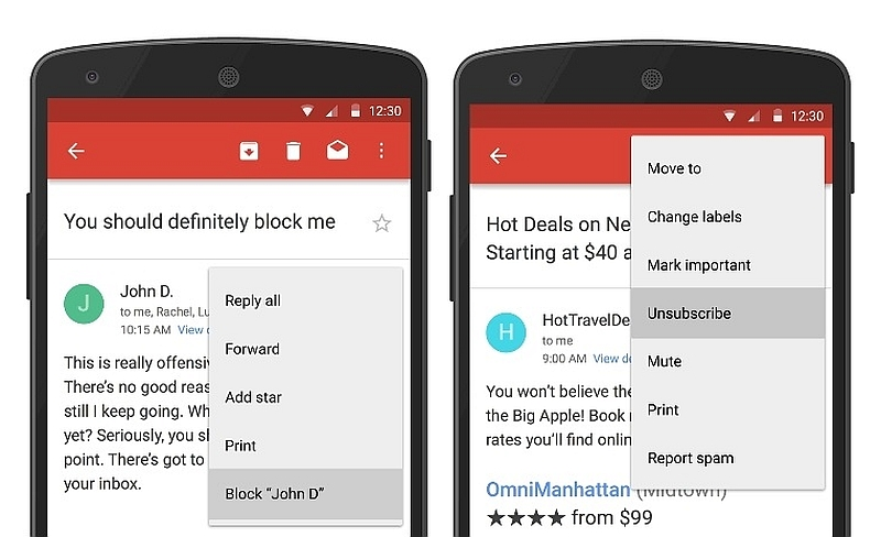 Gmail Gets 'Block' Sender Feature, Android App Adds Easy 'Unsubscribe'