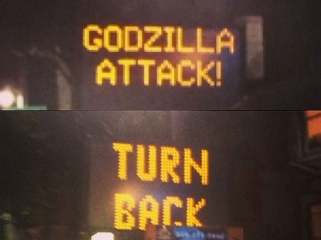 After Godzilla Attack Us Warns About Traffic Sign