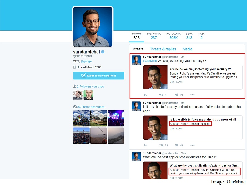 Google CEO Sundar Pichai's Quora Account Hacked