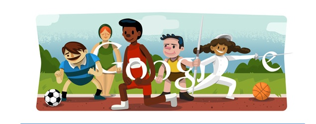 Opening ceremony London 2012 celebrated by Google doodle
