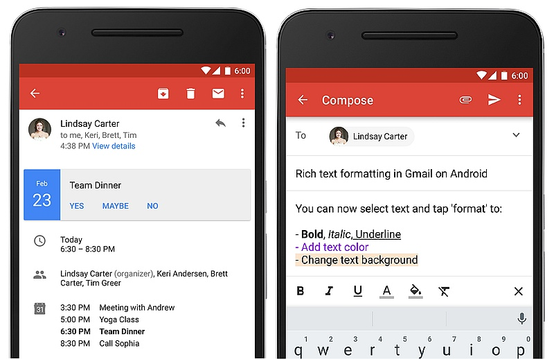Gmail for Android Gets Rich Text Formatting, and Instant RSVP Feature
