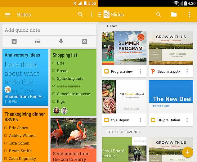 Google Keep and Slides Updated With New Features