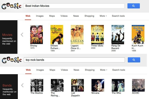 Top rock bands? Best Indian movies? Google adds on-the-spot answers