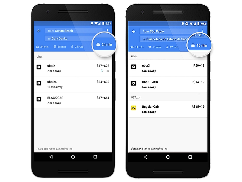 Google Maps Integrates Ola and Other Ride Services