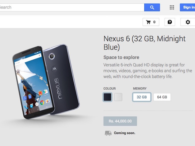 Google Nexus 6 Price in India Officially Confirmed