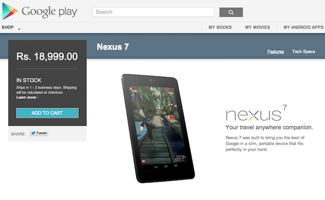 Google Nexus 7 32GB Wi-Fi only now available from India Play Store for Rs. 18,999