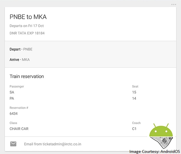 Google Now Starts Showing Indian Train Booking Details
