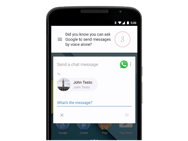 You Can Now Dictate WhatsApp Messages via Google Now Voice