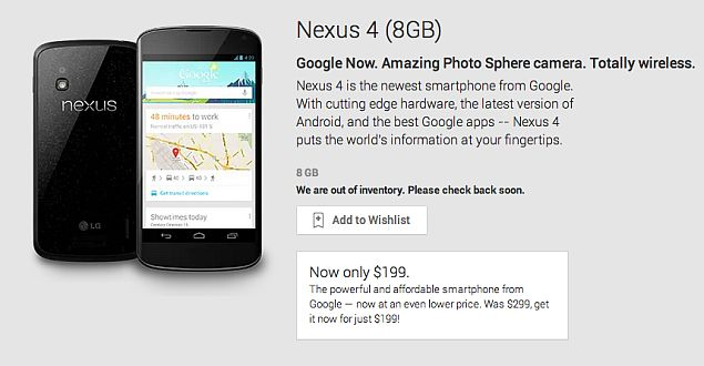 Google Nexus 4 8GB variant sold out on US Play store, not coming back