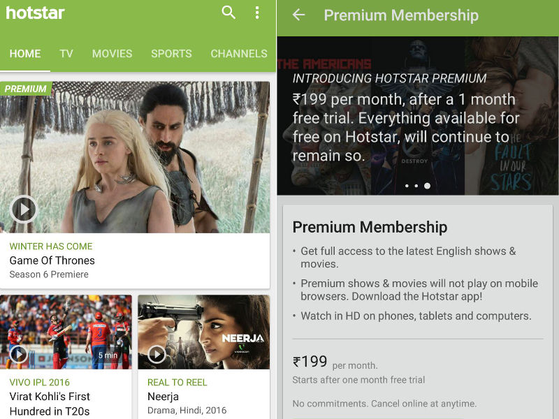 Hotstar Launches Rs. 199 Premium Subscriptions, Offers Same Day TV Broadcasts of US TV Shows